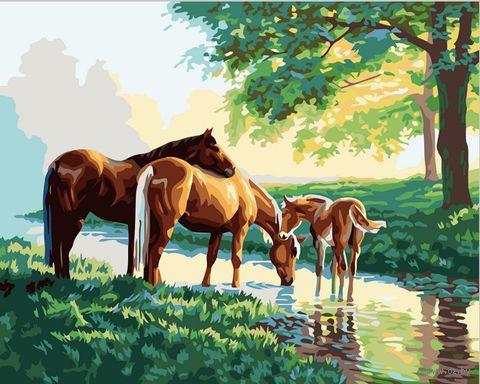 """Картина по номерам """"Лошади у ручья"""" (400х500 мм)"""