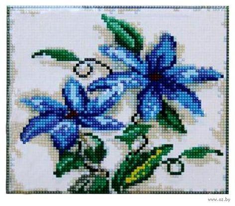 """Алмазная вышивка-мозаика """"Синие цветы"""" (190х220 мм) — фото, картинка"""