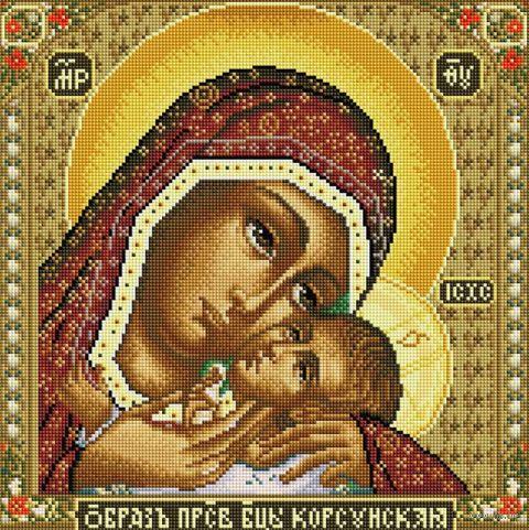 "Алмазная вышивка-мозаика ""Икона Божией матери Корсунская"" (400х400 мм) — фото, картинка"