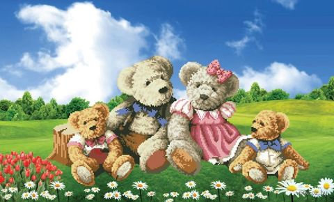 "Вышивка крестом ""Семейка медвежат"" (720х470 мм) — фото, картинка"