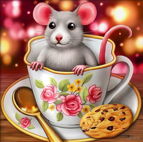 """Алмазная вышивка-мозаика """"Крысенок в чашке"""" (150х150 мм) — фото, картинка"""