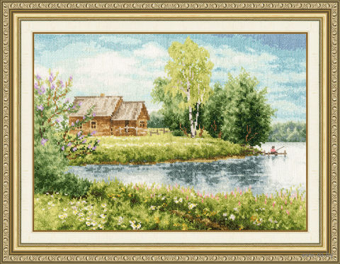 "Вышивка крестом ""Домик у озера"" (222х301 мм) — фото, картинка"