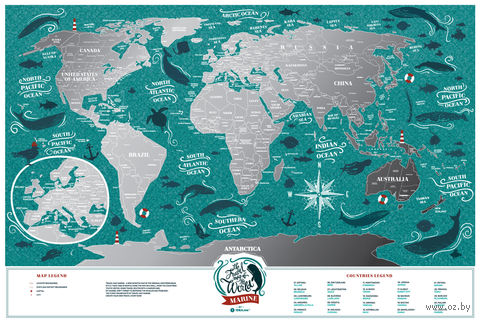 "Скретч-карта ""Marine World"" (600х400 мм) — фото, картинка"