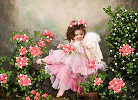"""Вышивка лентами """"Ангельская девочка в розочках"""" (360х260 мм) — фото, картинка"""