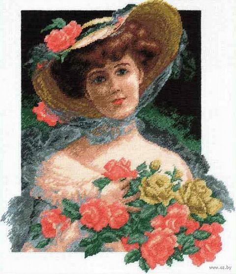 """Вышивка крестом """"Девушка с розами"""""""