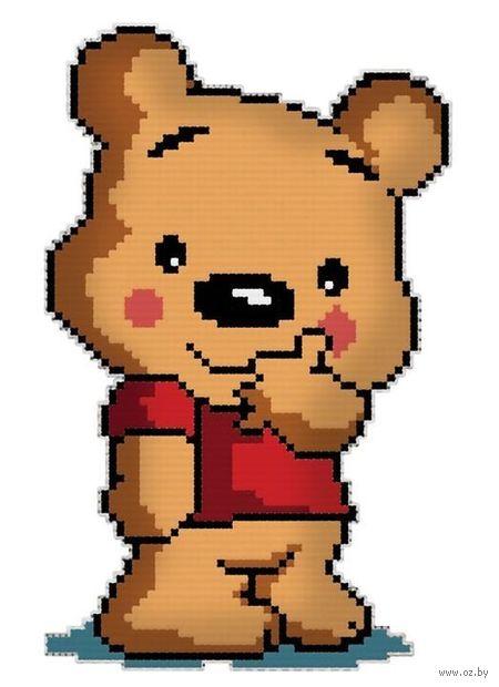 """Вышивка крестом """"Брелок. Медвежонок в футболке"""" (80 мм) — фото, картинка"""