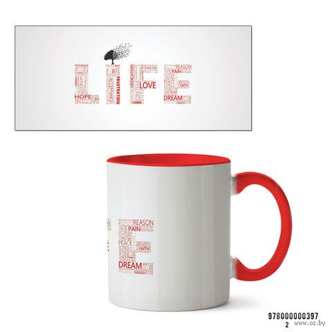 """Кружка """"Life"""" (397, красная)"""