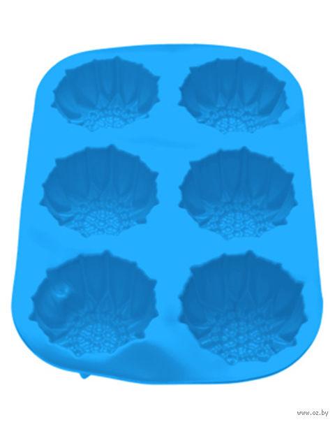 Форма силиконовая для выпекания кексов (275x180x30 мм; голубая) — фото, картинка