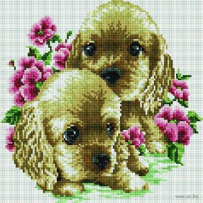 "Алмазная вышивка-мозаика ""Милые щенки"" (300х300 мм) — фото, картинка"