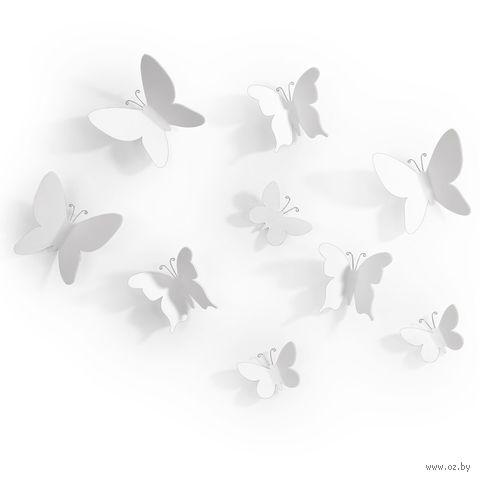 "Набор наклеек на стену ""Mariposa"" (9 шт.; белый) — фото, картинка"