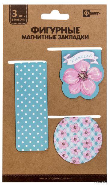 """Набор магнитных закладок """"Нежные цветы"""" (3 шт.) — фото, картинка"""