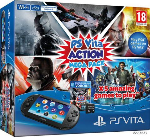 "Комплект ""Игровая приставка Sony PS Vita 2000 WiFi Slim Black Rus (PCH-2008ZR11)"" + ""PSN код активации Action Mega Pack"" + Карта памяти 8 Гб"