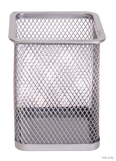 Подставка для ручек (серебряная; квадратное основание)