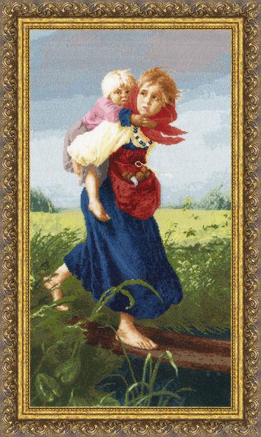 """Вышивка крестом """"Дети, бегущие от грозы"""" (618х332 мм) — фото, картинка"""