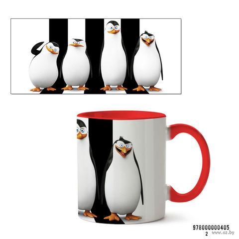 """Кружка """"Пингвины Мадагаскара"""" (арт. 405, красная)"""