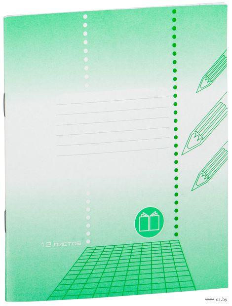 """Тетрадь в клетку """"Зеленая"""" 12 листов"""