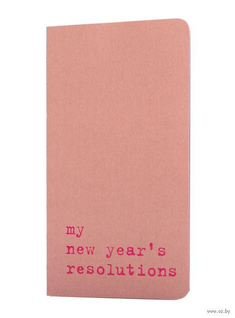 "Записная книжка в точку ""Chapter. My New Years Resolutions"" (75х140 мм; розовая) — фото, картинка"
