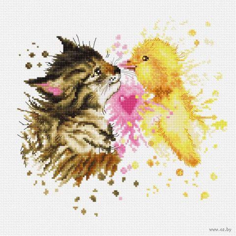 "Вышивка крестом ""Кот с утенком"" (205х195 мм) — фото, картинка"