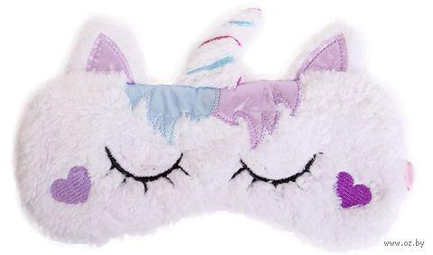 """Маска для сна """"Purple unicorn"""" (белая) — фото, картинка"""