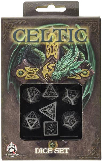 """Набор кубиков """"Celtic"""" (7 шт.; серо-черный) — фото, картинка"""