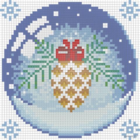 "Алмазная вышивка-мозаика ""Новогодний шарик с шишкой"" (150х150 мм) — фото, картинка"