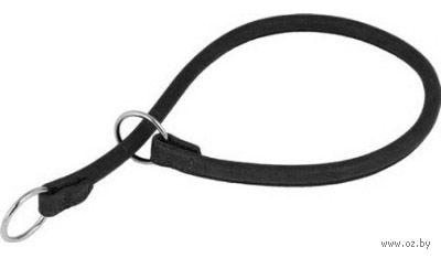 Ошейник-удавка из натуральной кожи рывковый (35 см; черный) — фото, картинка