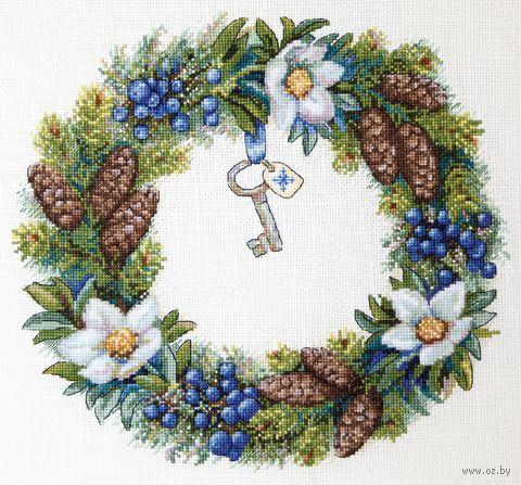 "Вышивка крестом ""Зимний веночек"" (280х250 мм) — фото, картинка"