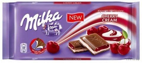 """Шоколад молочный """"Milka. Вишневый крем"""" (100 г) — фото, картинка"""