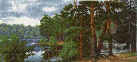 """Вышивка крестом """"Лесное озеро"""""""