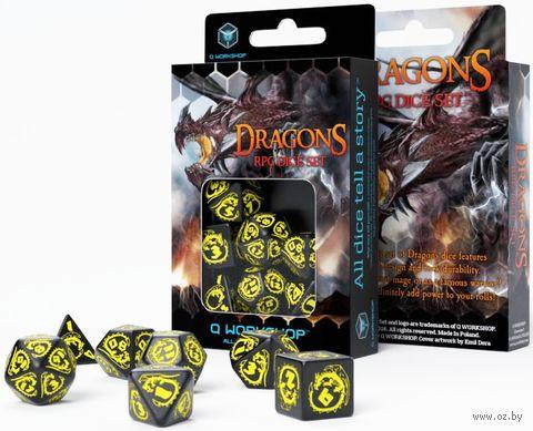 """Набор кубиков """"Dragon"""" (7 шт.; черно-желтый) — фото, картинка"""