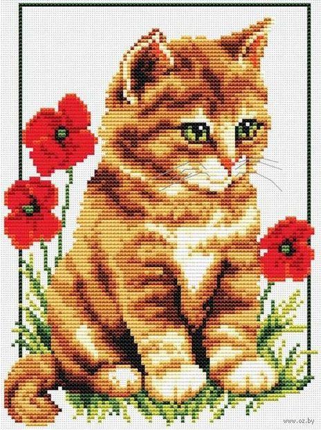"""Вышивка крестом """"Котёнок в цветах"""" (180x215 мм) — фото, картинка"""