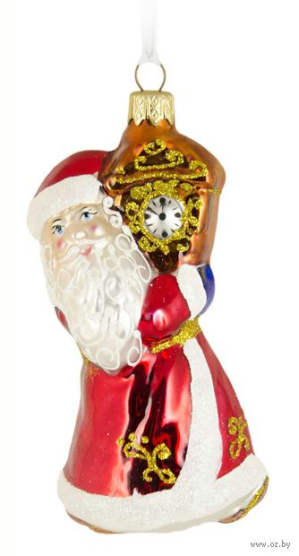"Ёлочная игрушка ""Дед Мороз и часы"" (арт. Ф-58) — фото, картинка"