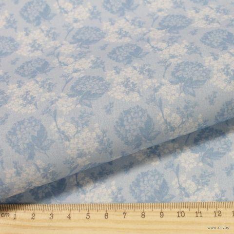 """Ткань """"Винтажные гортензии"""" №3 (серо-синяя) — фото, картинка"""