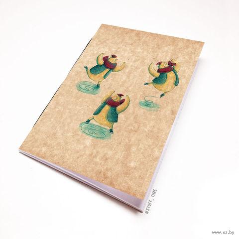 """Блокнот крафт """"Кот на коньках"""" А5 (457)"""