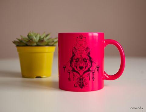 """Кружка """"Волк"""" (розовая) — фото, картинка"""