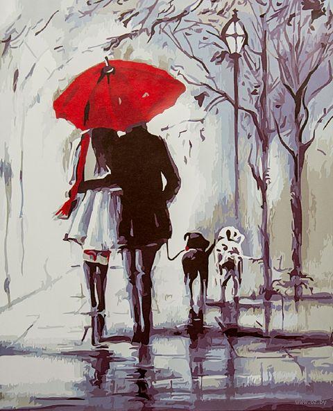 "Картина по номерам ""Прогулка под красным зонтом"" (400х500 мм) — фото, картинка"