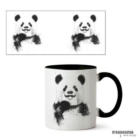 """Кружка """"Панда с усами"""" (черная) — фото, картинка"""