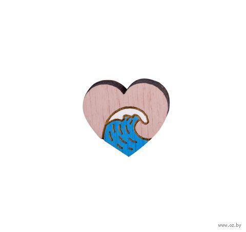 """Значок деревянный """"Море в моём сердце"""" — фото, картинка"""