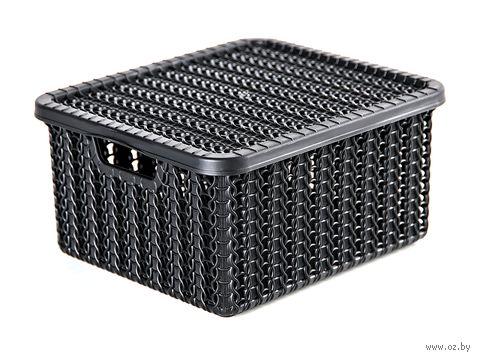 """Ящик для хранения с крышкой """"Вязание"""" (8,5х14,8х17 см; черный) — фото, картинка"""