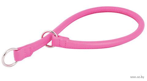 """Ошейник-удавка из натуральной кожи рывковый """"Glamour"""" (40х0,8 см; розовый) — фото, картинка"""