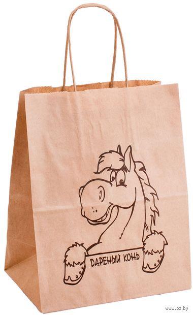 """Пакет бумажный подарочный """"Конь"""" (25х22х12 см) — фото, картинка"""