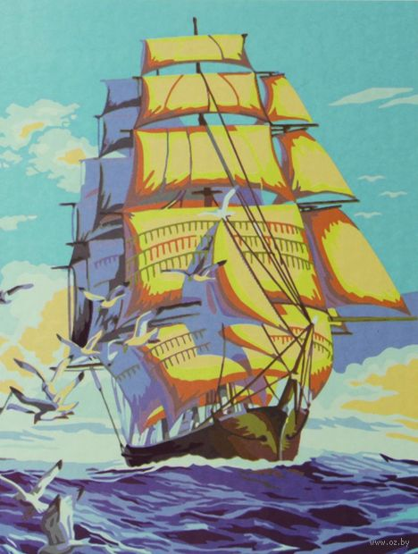 "Картина по номерам ""Парусник и чайки"" (400x500 мм; арт. B036) — фото, картинка"