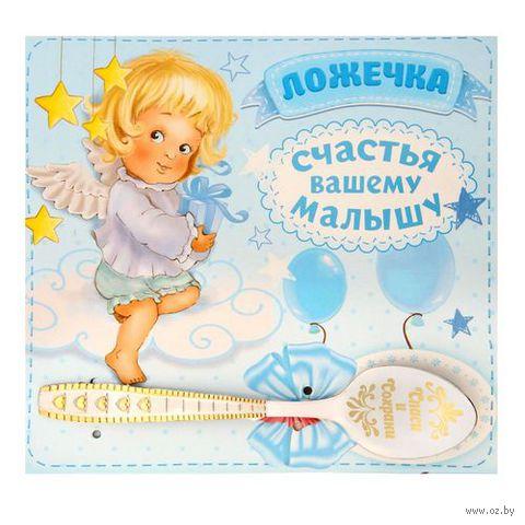 """Ложка металлическая на открытке """"Спаси и сохрани. Мальчику"""" (110 мм) — фото, картинка"""