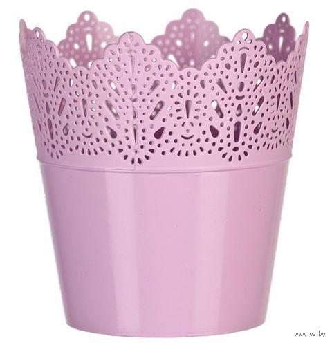 """Цветочный горшок """"Кружево"""" (14,5 см; розовый) — фото, картинка"""