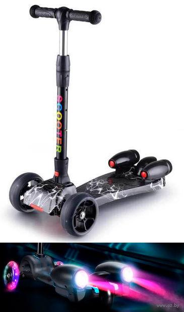 """Самокат трёхколёсный """"Scooter"""" с эффектами (чёрный) — фото, картинка"""