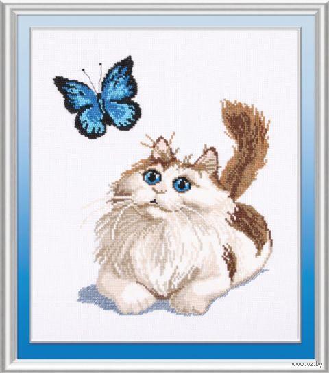 "Вышивка крестом ""Котенок и бабочка"" (210х280 мм) — фото, картинка"