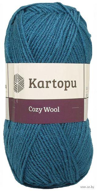"""Пряжа """"KARTOPU. Cozy Wool №K1467"""" (100 г; 110 м; темная бирюза) — фото, картинка"""