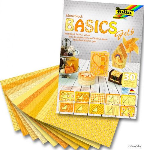 """Набор дизайнерского картона """"Базовый желтый"""" (240х340 мм; 30 листов)"""