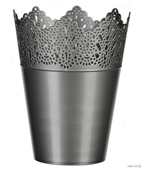 """Цветочный горшок """"Кружево"""" (14,5 см; серебряный) — фото, картинка"""