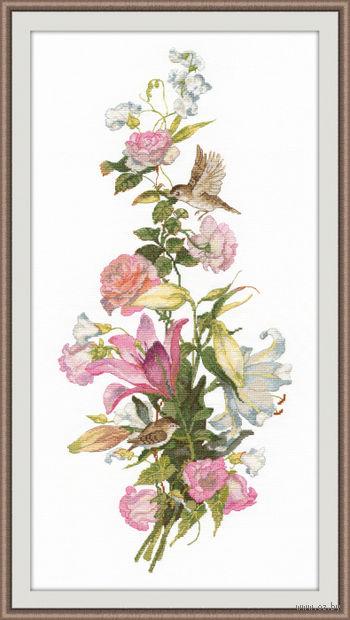 """Вышивка крестом """"Цветочная композиция. Лилии"""" (190х440 мм) — фото, картинка"""